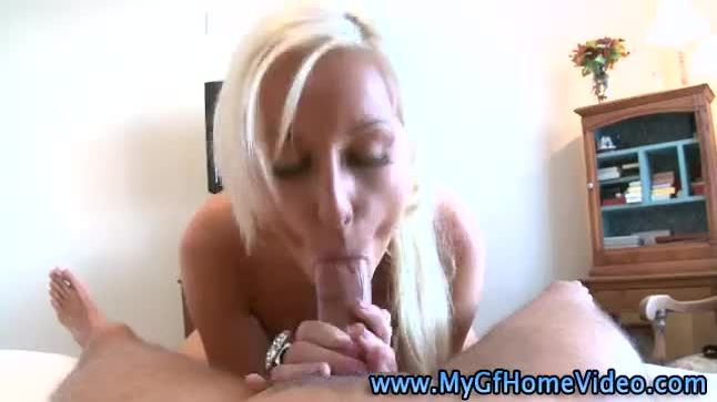 Blonde bitch sucks cock like a proper slut