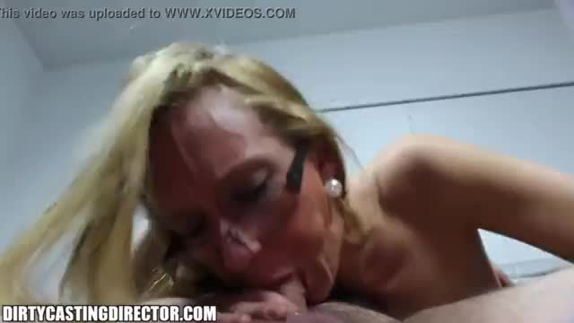 Blonde slut gags of on fat guys cock